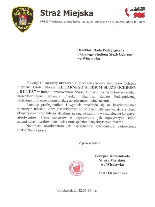 Podziękowanie Włocławek 2011