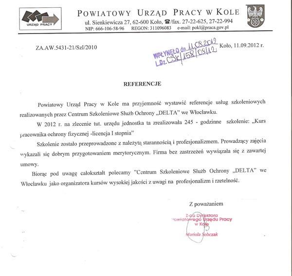 Referencja Powiatowego Urzędu Pracy w Kole 2012