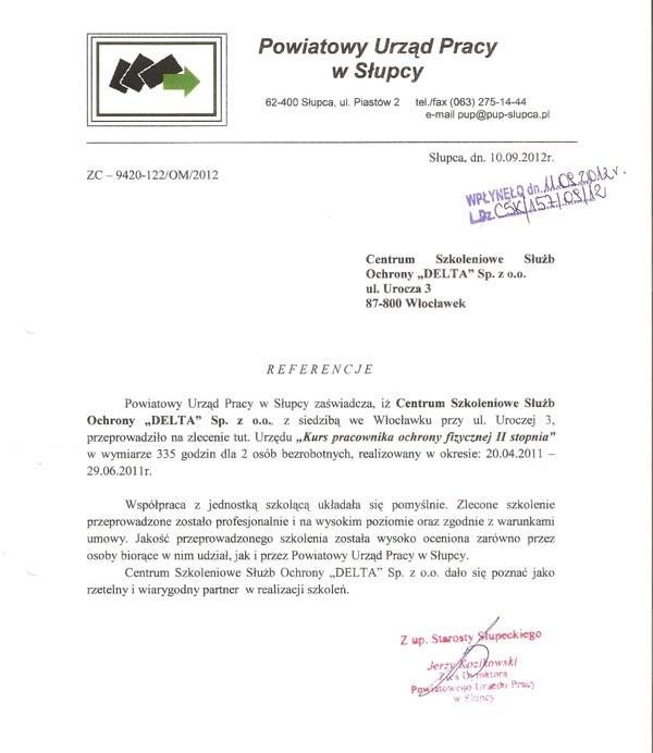 Referencje Powiatowego Urzędu Pracy w Słupcy 2012