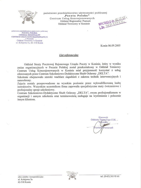 List Referencyjny Poczty Polskiej 2005