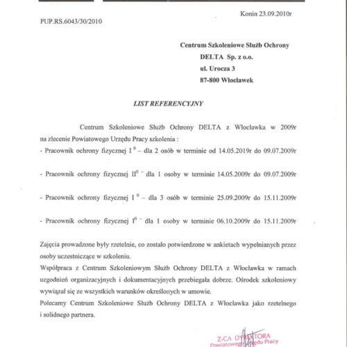 List Referencyjny Powiatowego Urzędu Pracy w Koninie 2010