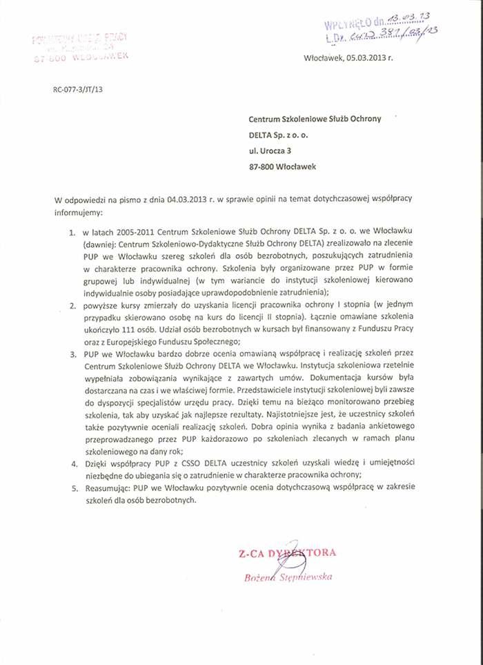 Rekomendacja Powiatowego Urzędu Pracy we Włocławku 2013