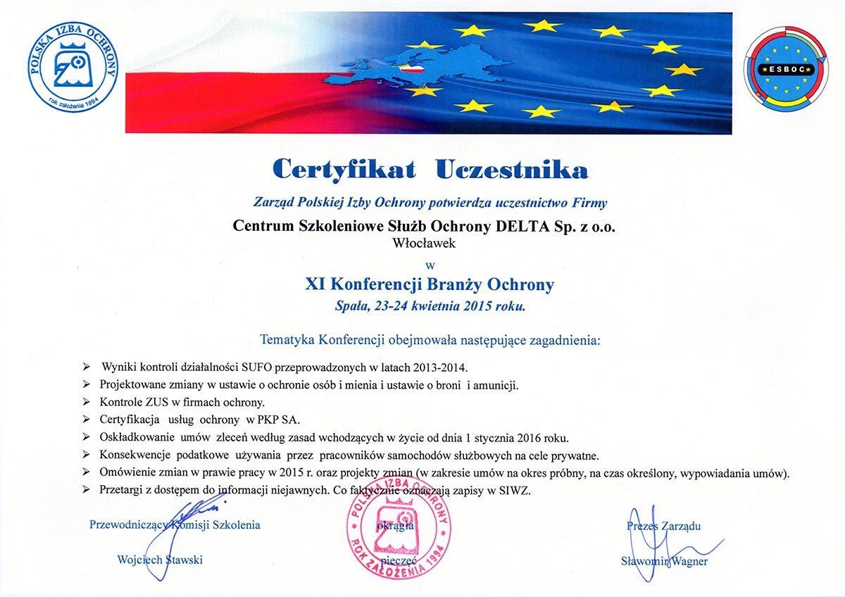 Certyfikat XI Konferencji Branży Ochrony 2015