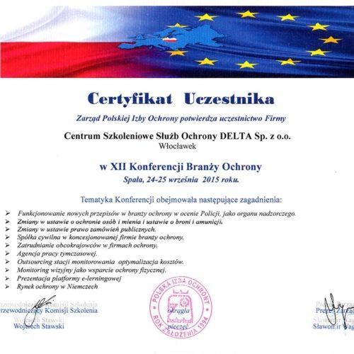 Certyfikat XII Konferencji Branży Ochrony 2015
