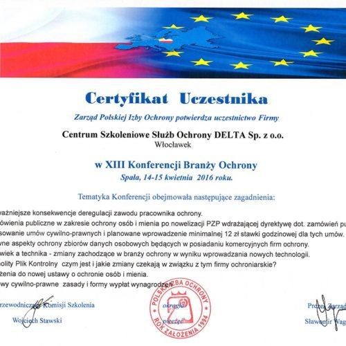 Certyfikat XIII Konferencji Branży Ochrony 2016