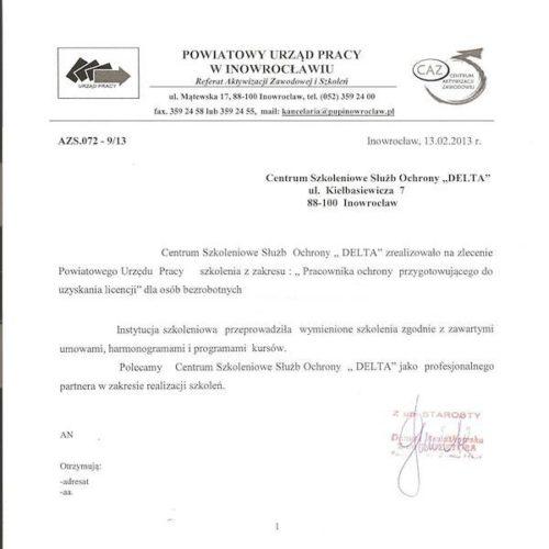 List referencyjny Powiatowego Urzędu Pracy w Inowrocławiu 2013