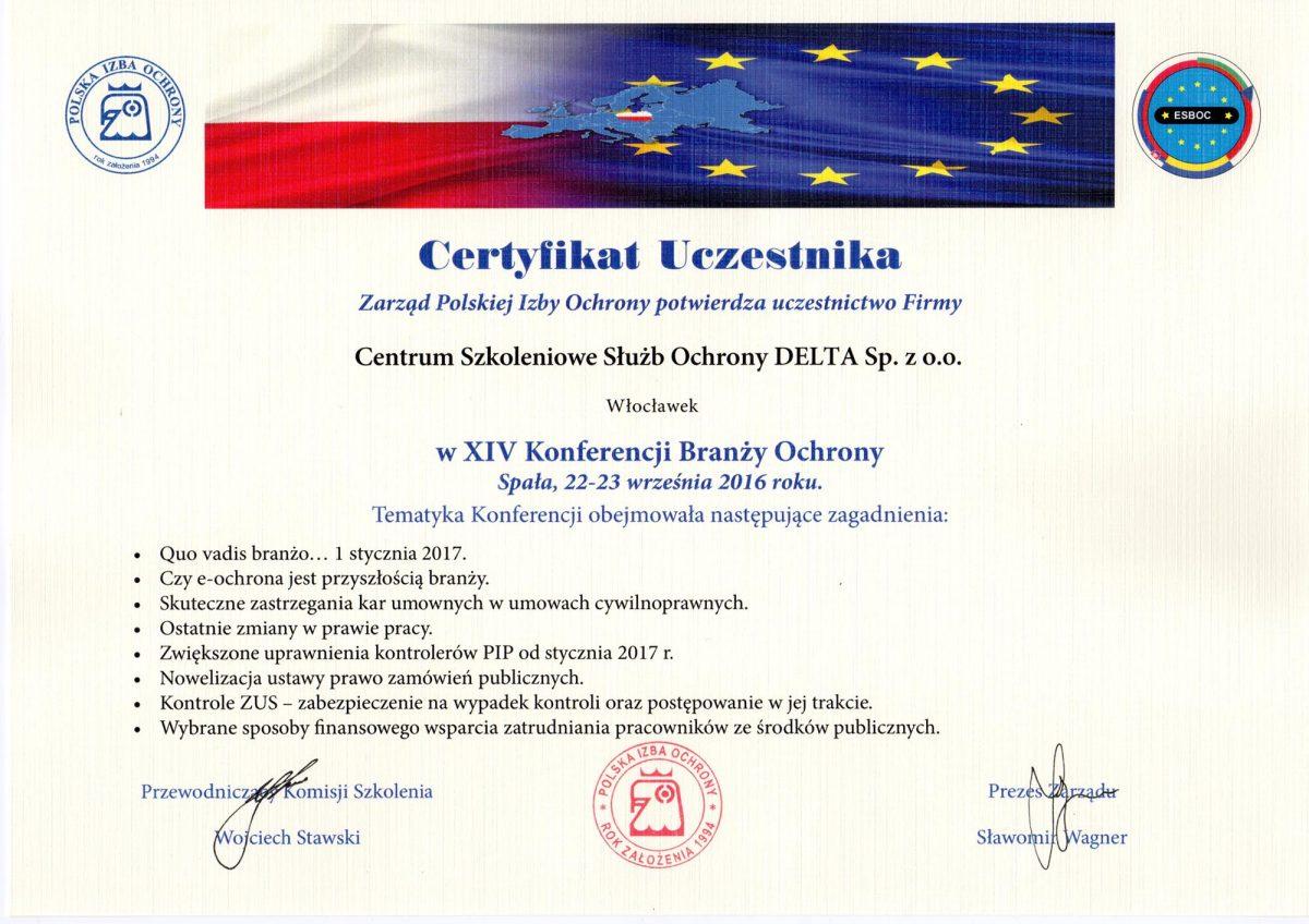 Certyfikat Uczestnika w XIV Konferencji Branży Ochrony