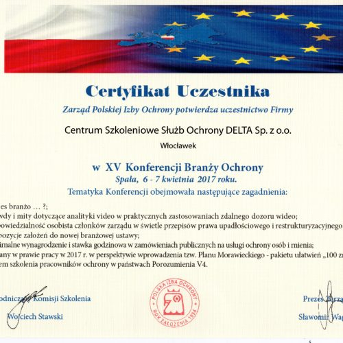Certyfikat Uczestnika w XV Konferencji Branży Ochrony