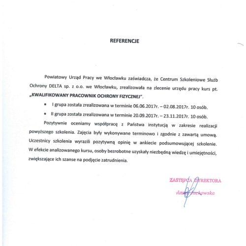 Referencje – Powiatowy Urząd Pracy we Włocławku, luty 2018